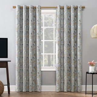 Sun Zero Mayumi Sophisticated Floral Thermal Extreme 100% Total Blackout Grommet Curtain Panel