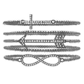 Stacked Infinity, Cross, Arrow Bracelet Set (Silver) - Exclusive Beadaholique Jewelry Kit