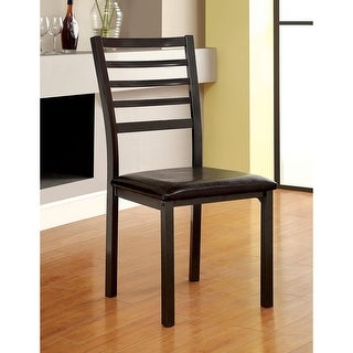 Furniture of America Rath Contemporary Black Faux Leather Dining Chair
