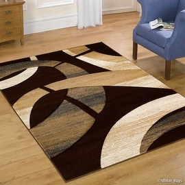"""Allstar Brown Carved Circles Modern Abstract Geometric Area Rug (5' 2"""" x 7' 2"""")"""