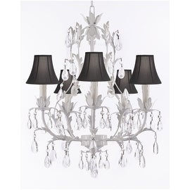 White Wrought Iron Floral Crystal Chandelier Lighting with Shades!