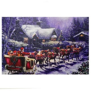 """23.5"""" LED Lighted Santa and Reindeer Making Deliveries Christmas Canvas Wall Art"""