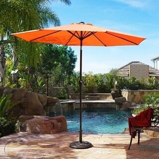 BELLEZE 9ft Outdoor Umbrella Crank to Open Auto Tilted Function Orange