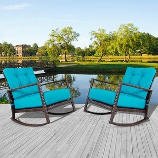 SUNCROWN 2 Pcs Outdoor Patio Wicker Rocking Bistro Chairs