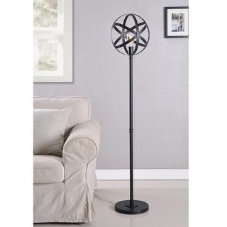 Gyroscope Black Floor Lamp with Bulb