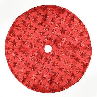 "20"" Red Sequin Snowflake Pattern Mini Christmas Tree Skirt"