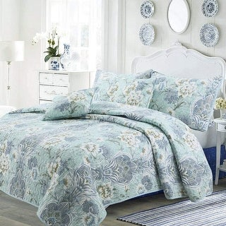 Cozy Line Jasmine Floral 3 Piece Reversible Cotton Quilt Set