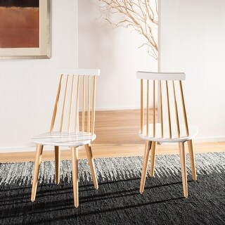 """Safavieh Country Classic Dining Burris Natural/White Wood Dining Chairs (Set of 2) - 17.3"""" x 20.7"""" x 36"""""""