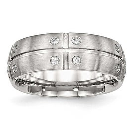 Stainless Steel Brushed Half Round/Grooved CZ Ring (8 mm) - Sizes 7 - 13