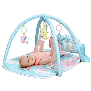 Gymax Baby Play Gym Mat w/ Play Piano & Funny Toys for Newborn Infant - Multi