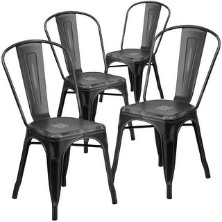 4PK Distressed Black Metal Indoor-Outdoor Stackable Chair - Kitchen Furniture