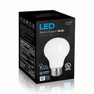 2 Pack LED Dimmable A19 Light Bulb, 9W, 5000K Daylight, Milky - 120V