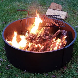"""Sunnydaze 34"""" Wood Burning Fire Ring Steel with Rotating Cooking Grate and Poker"""