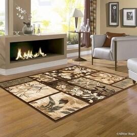 """Allstar Brown Hand Carved Indian Floral Print Design Area Rug (5' 2"""" x 7' 2"""")"""