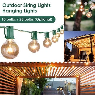 3.15m/7.65m LED String Lights Outdoor Electric Globe Hanging Lights with 10/25 Bulbs for Garden Pergola Decks - 12 inches