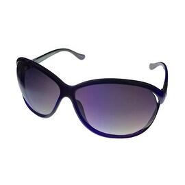 Ellen Tracy Womens Sunglass 522 2 Purple Crystal Rectangle, Gray Gradient Lens
