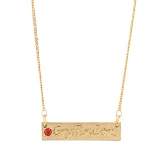 Harry Potter Gryffindor Script Bar Necklace with Stone - Gold