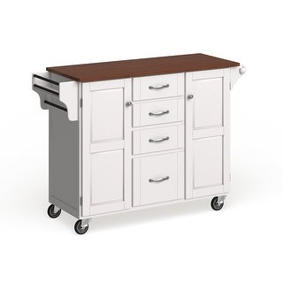 Copper Grove Puff Island White Finish with Cherry Top Kitchen Cart