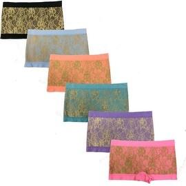 Women's 6 Pack Seamless Lace Print Boyshorts Panties