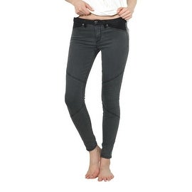Agave Denim Ava Moto Jeggings in Black Stretch Steel