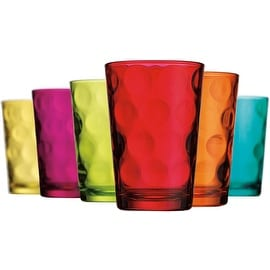 Palais Glassware Cercle Collection; High Quality Clear Glass Set with Circle Design (Set of 6 - 7 Oz Juice Glasses, ASSORTED