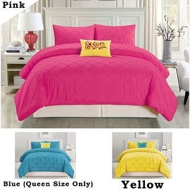 4 PC Queen King Size Pink Blue Yellow Modern Contemporary Comforter Set