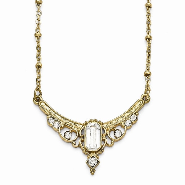 Goldtone Downton Abbey Clear Crystal & Glass Necklace - 16in