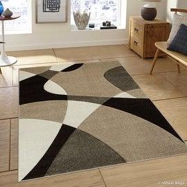"Allstar Brown / Beige Modern Geometric Formal Design Area Rug (3' 9"" x 5' 1"")"