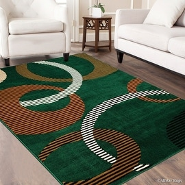 "AllStar Rugs Green Area Rug. Contemporary. Abstract. Traditional. Formal. Shapes. Spirals. Circles. (7' 7"" x 10' 6"")"