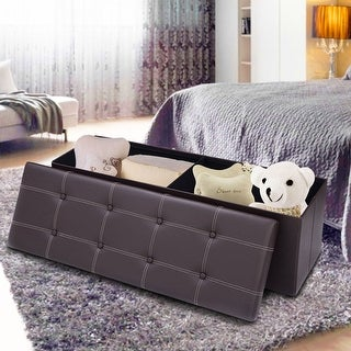 Costway 45''x15''x15'' Large Folding Storage Faux Leather Ottoman