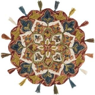 Alexander Home Hand-Hooked Sophie Fiesta 100% Wool Scalloped Tassel Round Rug - 3' x 3' Round