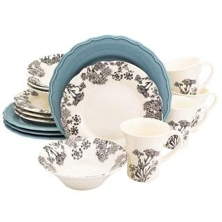 Euro Ceramica Savannah Black and White 16 Piece Dinnerware Set (Service for 4)