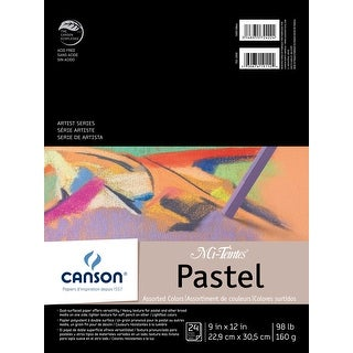Canson Mi-Teintes Drawing Pad, 9 x 12 Inches, 98 lb, Assorted Colors, 24 Sheets