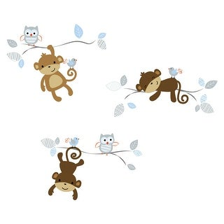 Bedtime Originals Mod Monkey with Owls and Birds Blue/Gray/Brown Wall Decals/Appliques