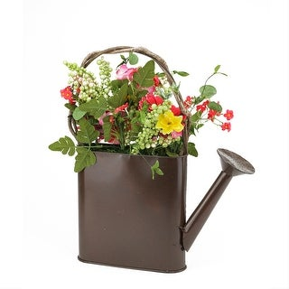"""17"""" Brown and Yellow Gerbera Daisy Artificial Spring Floral Arrangement Watering Can"""