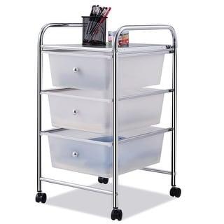 Costway 3 Drawers Metal Rolling Storage Cart Scrapbook Supply & Paper