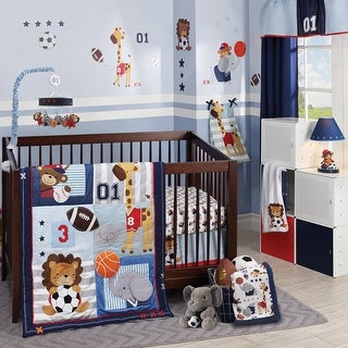 Lambs & Ivy Future All Star Blue/Gray/White Animal Sports Nursery 4-Piece Baby Crib Bedding Set