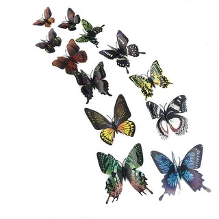 12pcs 3D Butterfly Wall Sticker Decal Sticker for Bedroom Decoration Black