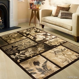 """Allstar Brown Hand Carved Indian Contemporary Floral Design Area Rug (5' 2"""" x 7' 2"""")"""