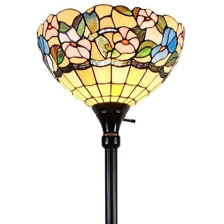 "Tiffany Style Floor Lamp 70"" Tall Torchiere Standing Dragonfly Stained Glass White Flower Reading AM023FL14B Amora Lighting"