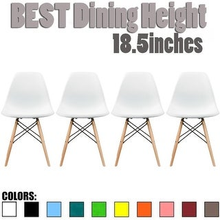 2xhome Set of 4 Modern Plastic Side Armless Kitchen Dining Chairs Light Wood Natural Desk Patio Home Office