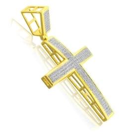 10K Yellow Gold Cross Pendant 0.45cttw Pave Set Diamonds 50mm Tall Mens
