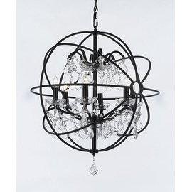 Foucault's Orb Chandelier Wrought Iron and Crystal 6 Lights