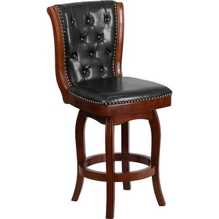 Estella 26'' Button Tufted Cherry Wood Counter Stool w/Black Leather