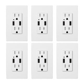 KioKi 6 Pack Dual USB Charging Wall Outlets, 15A AC 4.2A USB Ports