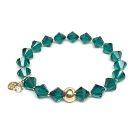 May Birthstone Color, Emerald Green 'Rachel' Stretch Bracelet, Swarovski Crystal 14k over Sterling Silver