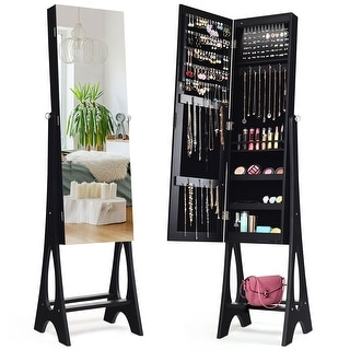 Costway LED Jewelry Cabinet Organizer Bevel Edge Mirrored Standing