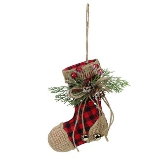"5.75"" Red and Black Buffalo Plaid and Burlap Christmas Stocking Ornament"