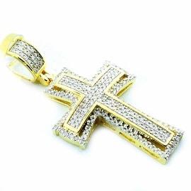 10K Gold Cross Charm Pendant 1/3ctw Diamonds 24mm Tall( 0.33cttw)