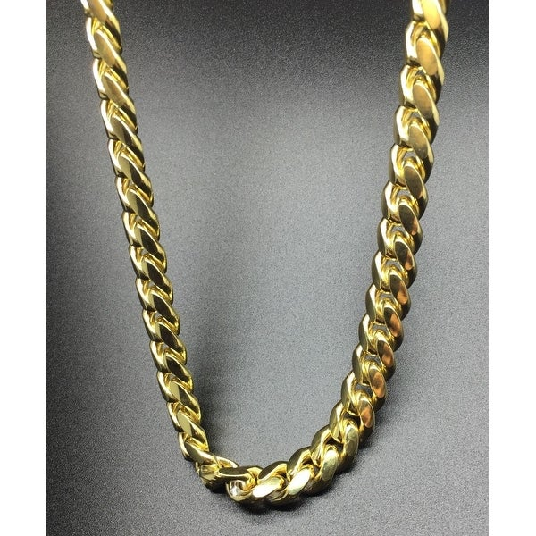 925 Sterling Silver Gold Plated Mens 14.5 MM Cuban Chain Necklace Made In Italy